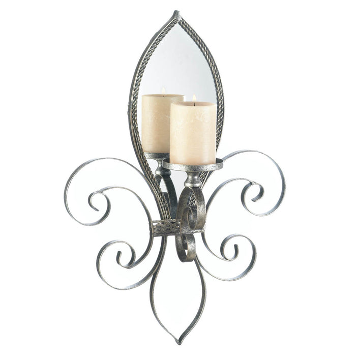 Fleur-De-Lis Mirrored Wall Sconce - UNQFurniture