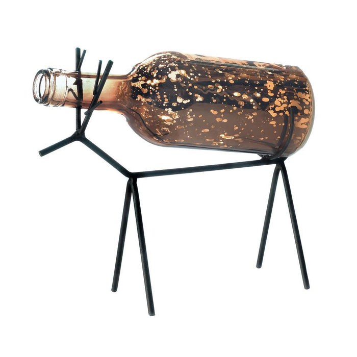 Glass Bottle Reindeer Lantern - UNQFurniture