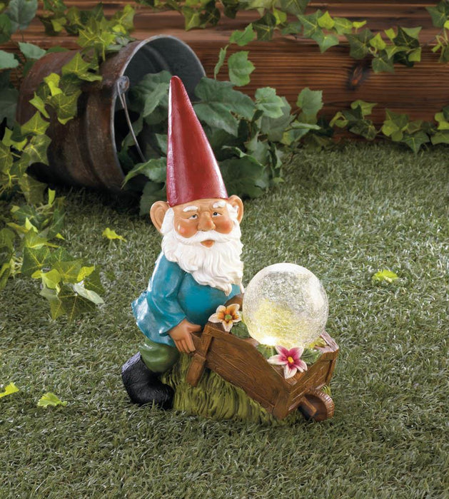 Gnome With Wheel Barrow Solar Statue - UNQFurniture