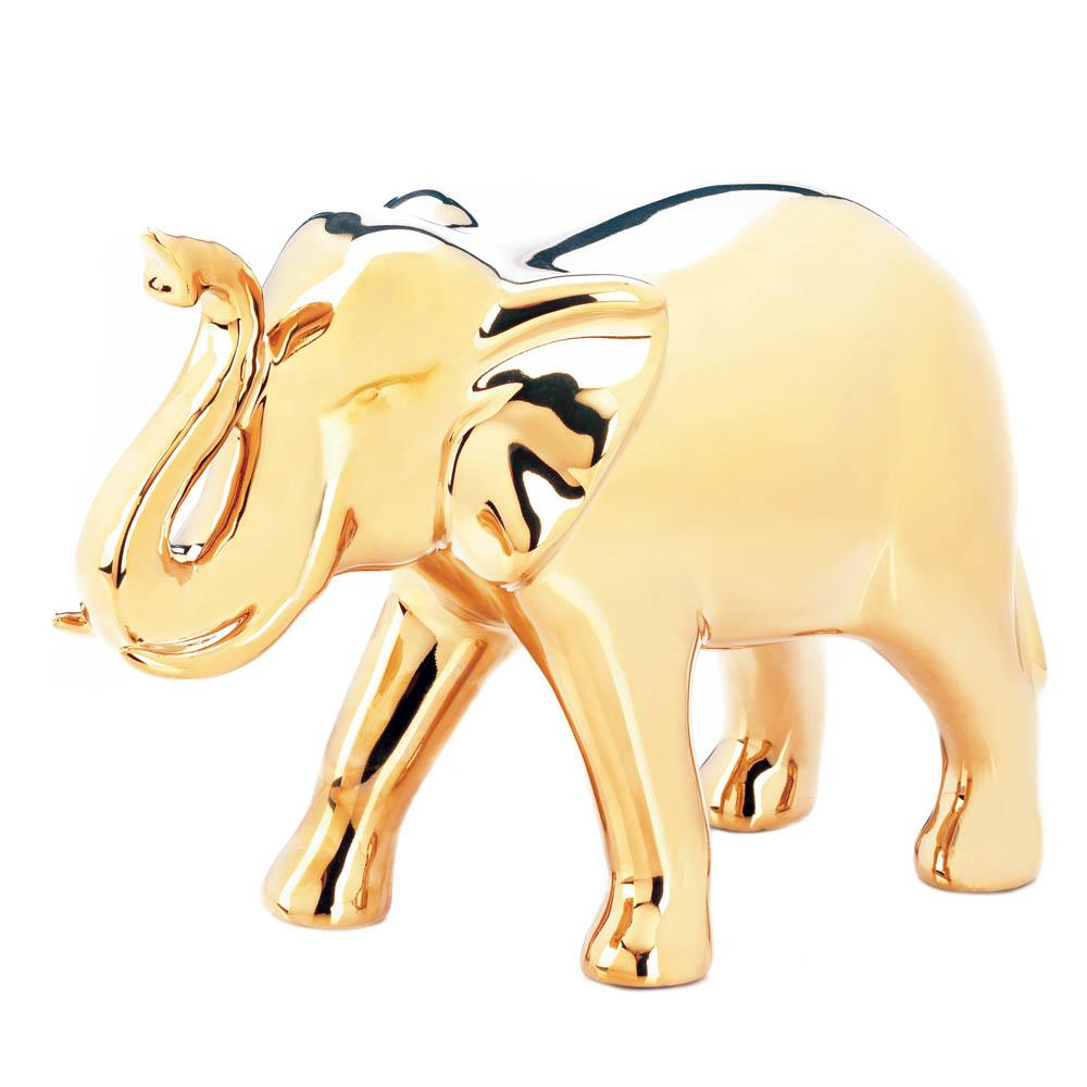 Golden Elephant Figure - UNQFurniture