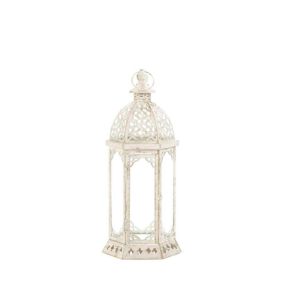 Graceful Distressed White Lantern (S) - UNQFurniture