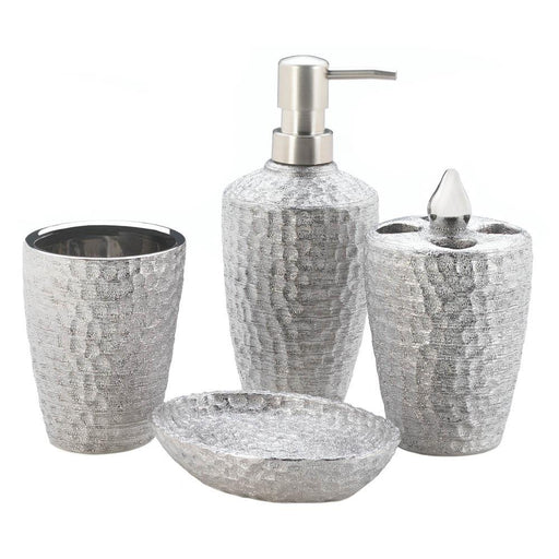 Hammered Silver Bath Accessory Set - UNQFurniture