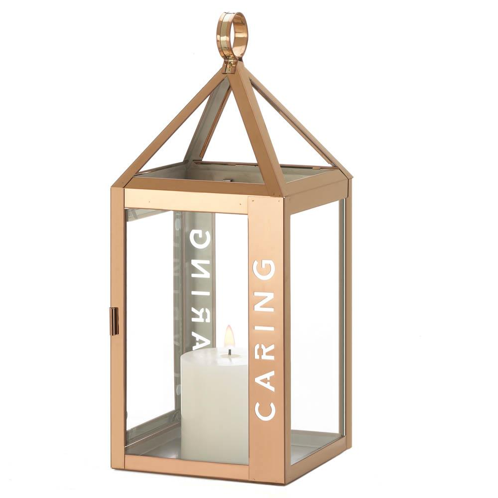 Large Rose Metal Caring Lantern - UNQFurniture