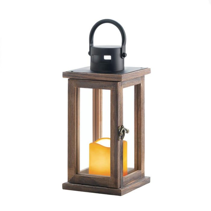 Lodge Wooden LED Candle Lantern - UNQFurniture