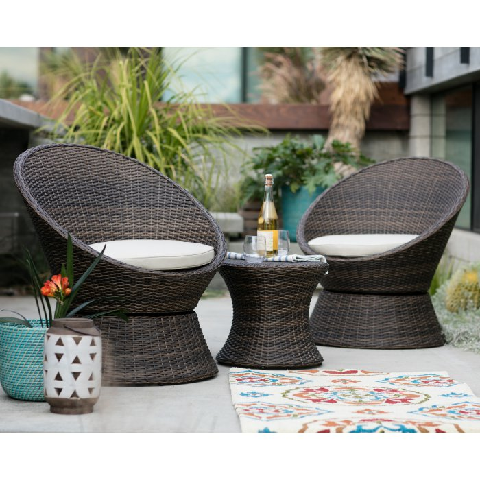 Laynee All Weather Wicker 3 Piece Patio Swivel Chairs and Side Table Set