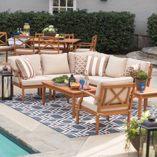 Brighton Outdoor Wood Conversation Sectional Set
