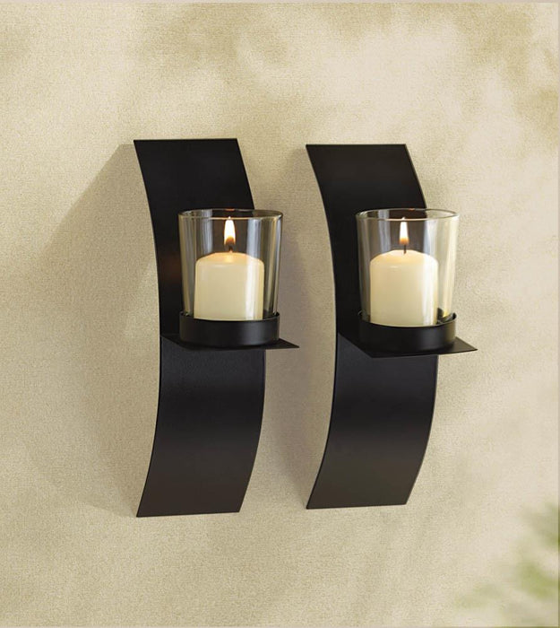 Modern Art Candle Sconce Duo - UNQFurniture