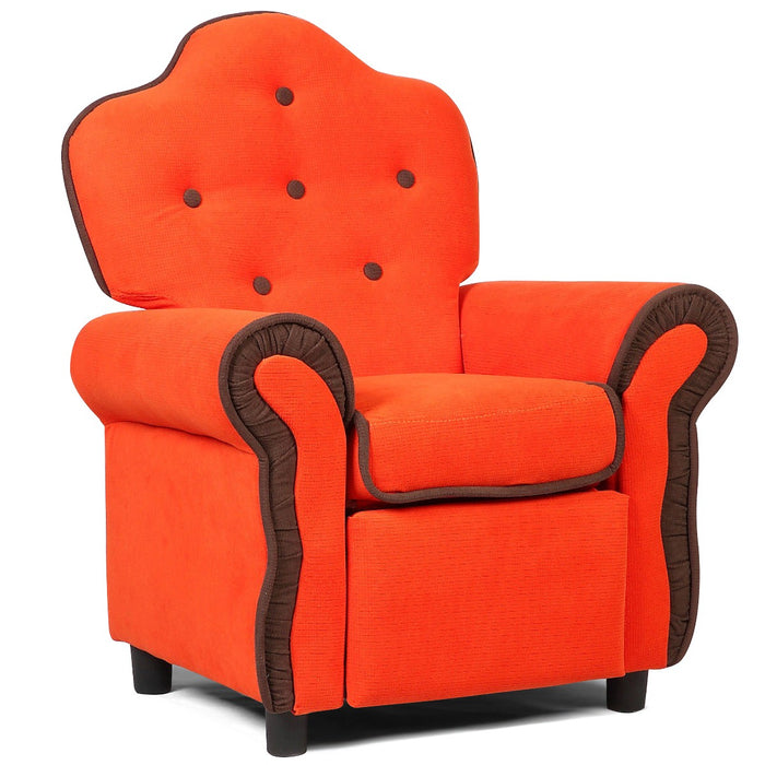 Children Recliner Kids Sofa Chair Couch Living Room Furniture Orange - UNQFurniture