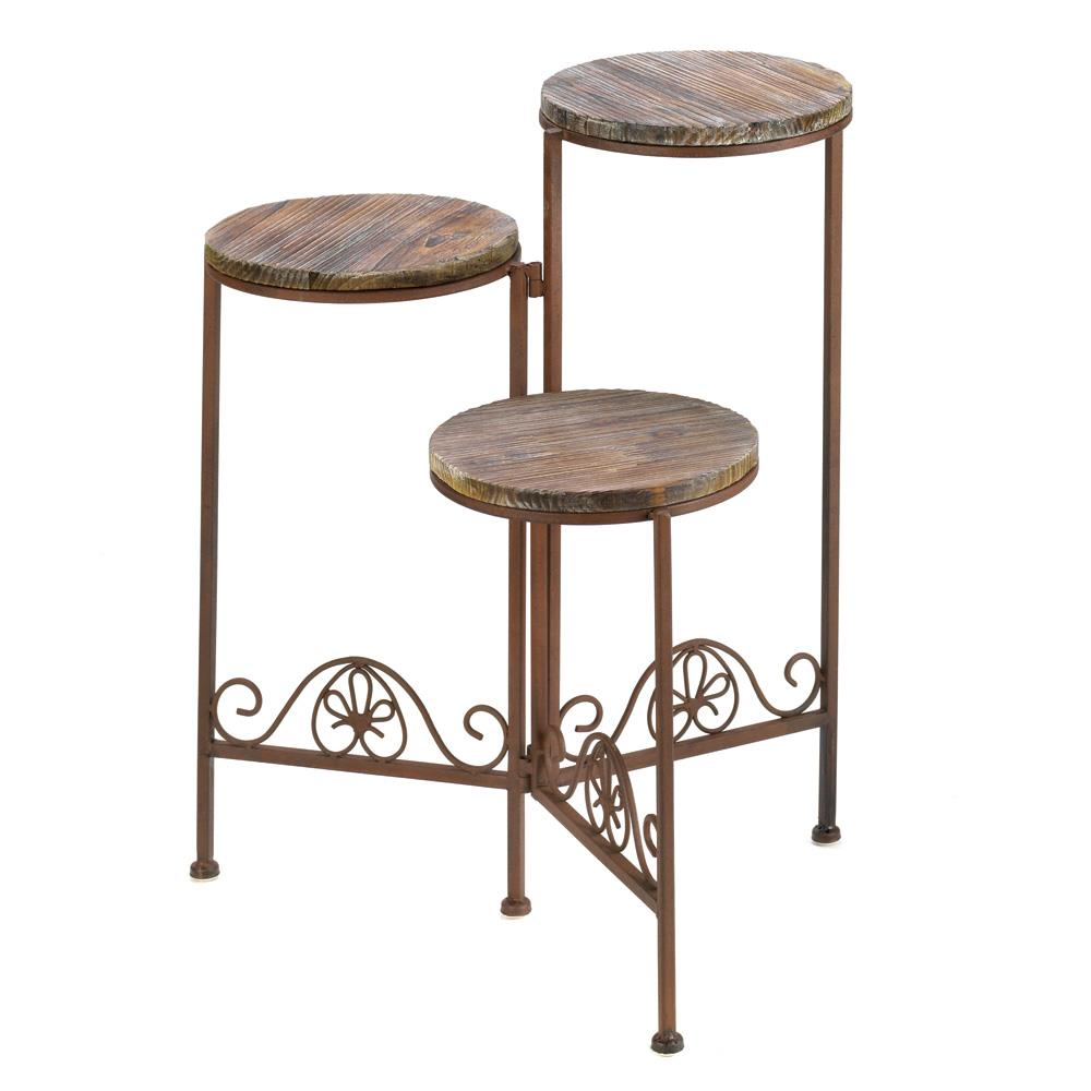 Rustic Triple Planter Stand - UNQFurniture