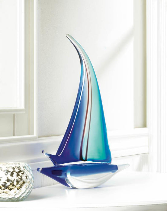 Sailboat Art Glass Statue - UNQFurniture