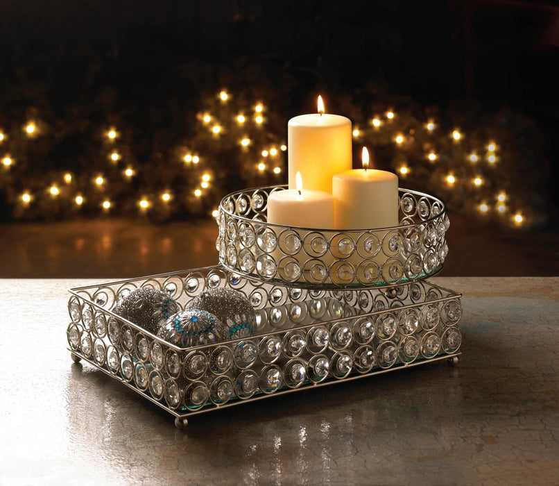 Shimmer Rectangular Jeweled Tray - UNQFurniture