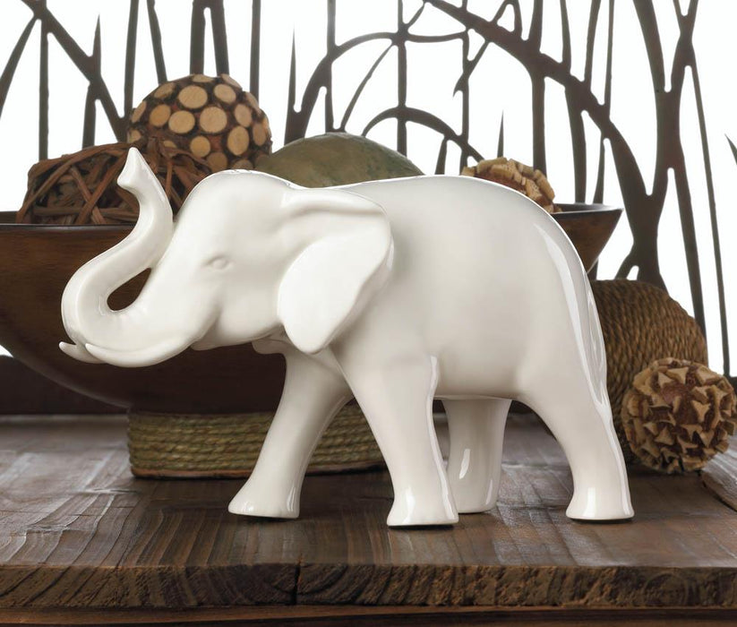 Sleek White Elephant Figurine - UNQFurniture