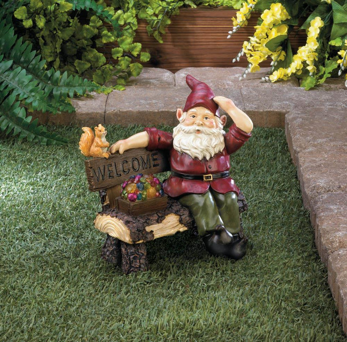 Solar Gnome On Welcome Bench - UNQFurniture
