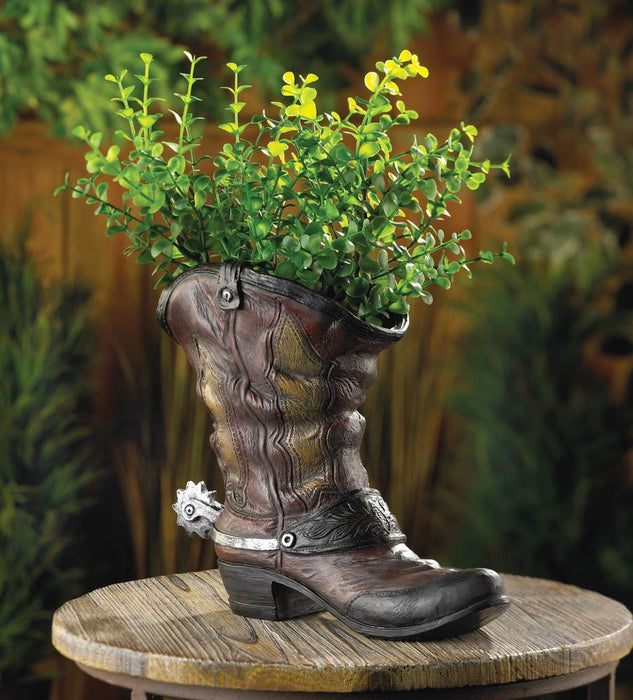 Spurred Cowboy Boot Planter - UNQFurniture