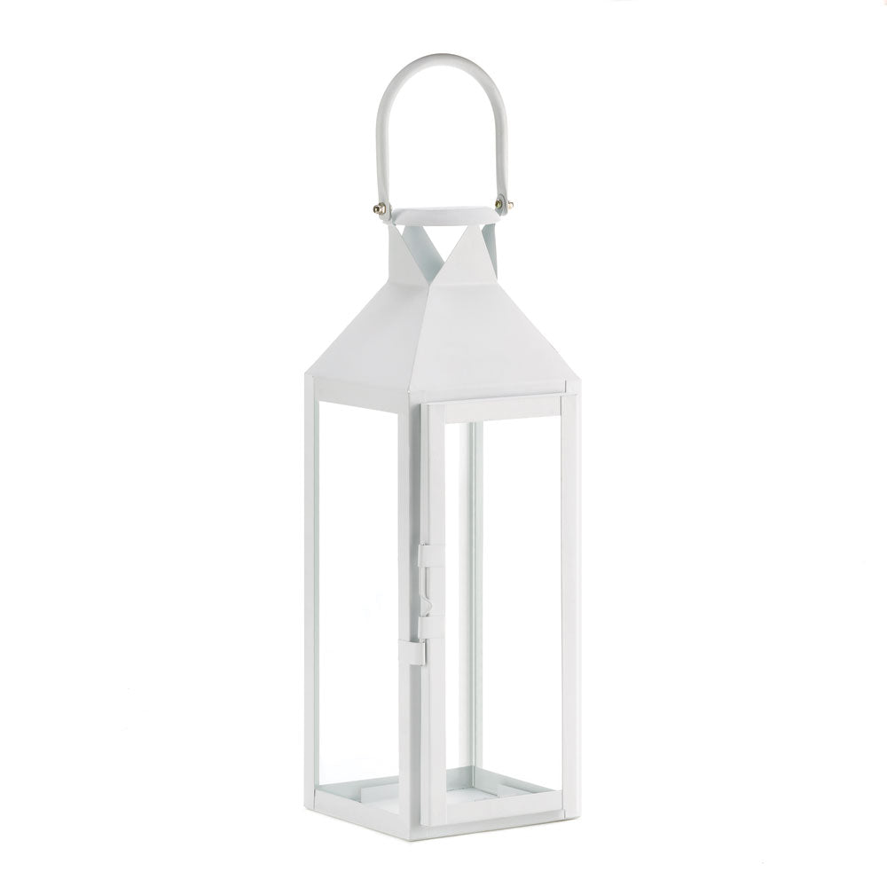 White Manhattan Candle Lantern - UNQFurniture