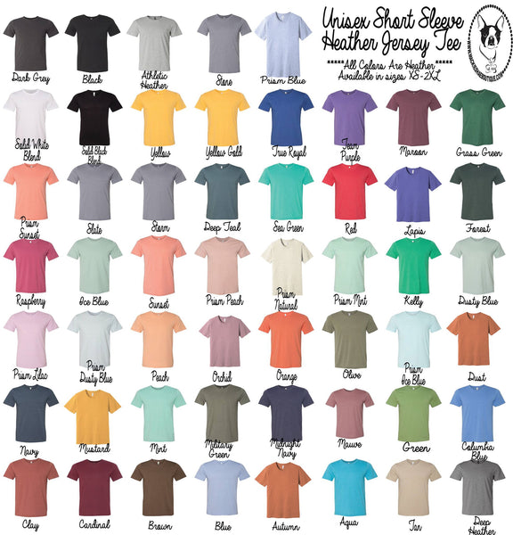 Unisex Short Sleeve Soft Heather Jersey Tee, Crew Neck
