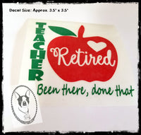 Retired Teacher Apple Custom Decal