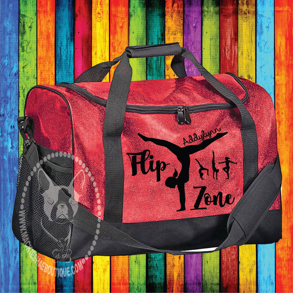 Flip Zone Personalized Custom Bag, Glitter Duffle