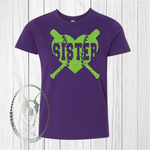 Baseball/Softball Sister Heart Custom Shirt for Kids, Short-Sleeve