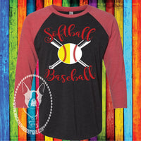 Softball Baseball Bats Custom Shirt, 3/4 Sleeve