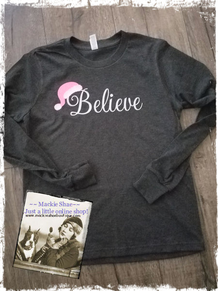 Believe with Santa Hat Custom Shirt for Kids, Long-Sleeve