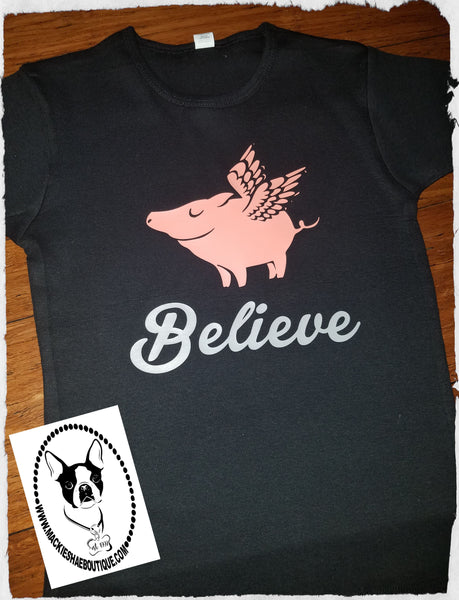Believe When Pigs Fly Custom Shirt for Kids