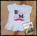 Big Sister to a Little Mr Mustache Custom Ruffle Shirt for Kids