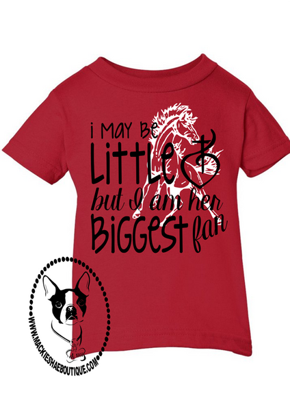 I May Be Little But I am Her Biggest Fan, Sacred Heart Mustangs Custom Shirt for Kids (Get Any Team)