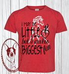 I May Be Little But I am His Biggest Fan, Sacred Heart Mustangs Custom Shirt for Kids (Get Any Team)