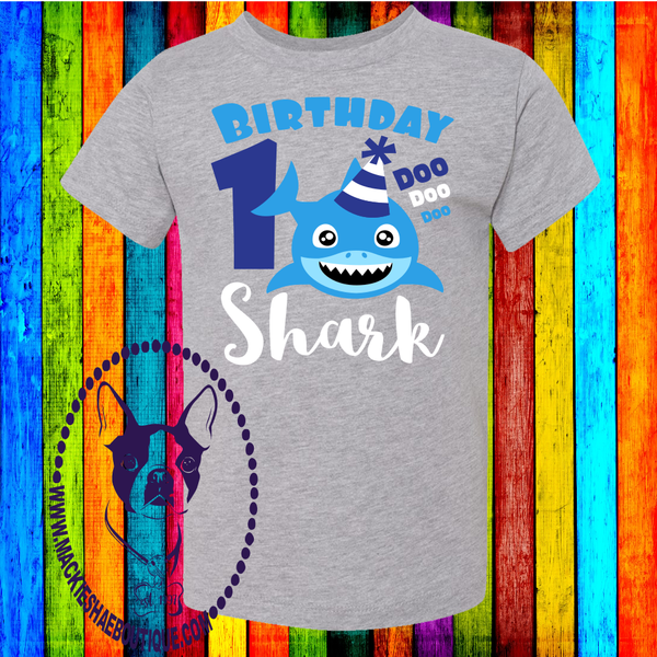 Birthday Shark Custom Shirt for Kids, Short Sleeve