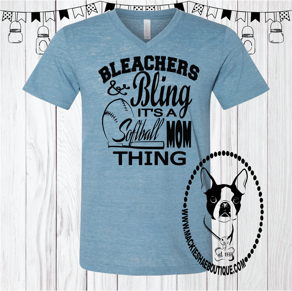 Bleachers & Bling It's A Softball Mom Thing Custom Shirt, Short Sleeve