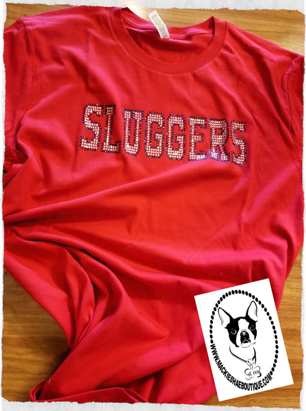 Sluggers Rhinestone Bling Custom Shirt, Short Sleeve