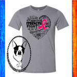 Cancer Awareness Heart Word Cluster Custom Shirt, Short Sleeve