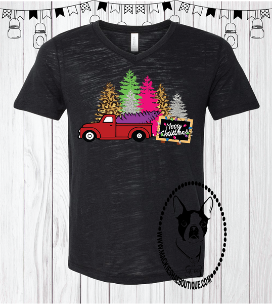 Christmas Tree Truck Custom Shirt, Soft Short Sleeve Tee