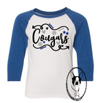 Cougars Volleyball Arrows Custom Shirt for Kids, 3/4 Sleeve
