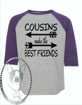 Cousins Make the Best Friends with Arrows (design 1) Custom Shirt for Kids, 3/4 Sleeve