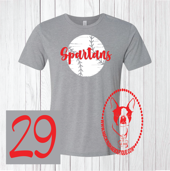 Spartans Personalized Distressed Baseball Custom Shirt, Short Sleeve (Get Any Team)