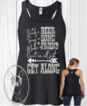 Drink A Beer, Sing A Song, Make A Friend, Can't We All Just Get Along Custom Shirt, Racerback Tank