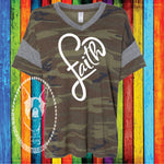 Faith Heart Custom Shirt, Camo Eco-Jersey Vneck Tee
