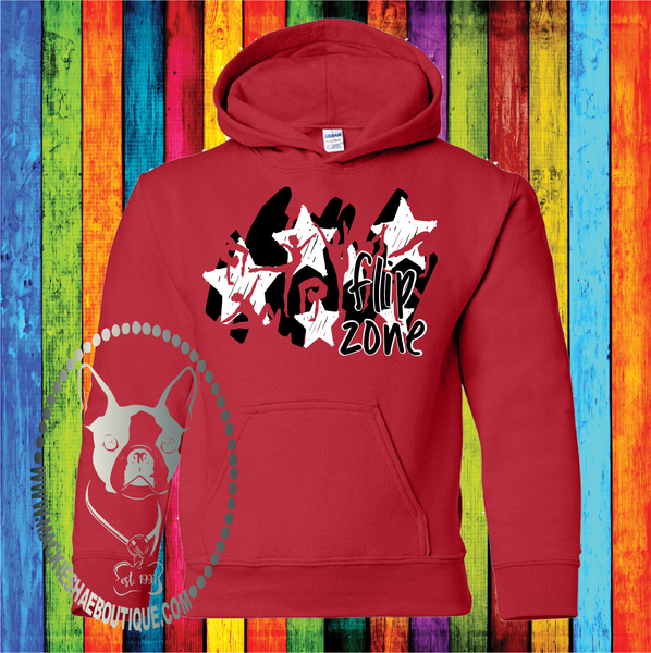 Flip Zone Gymnastics Star Design Custom Shirt for Kids, Heavy Blend Hoodie