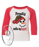 Frosty Makes My Heart Melt Custom Shirt for Kids, Soft 3/4 Sleeve