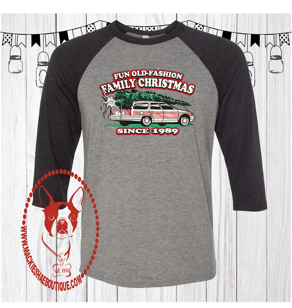 Fun Old Fashion Family Christmas Custom Shirt,  3/4 Sleeve