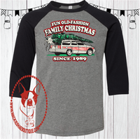 Fun Old Fashion Family Christmas Custom Shirt for Kids, 3/4 Sleeve