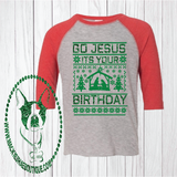 Go Jesus It's Your Birthday Stable Sweater Custom Shirt for Kids, 3/4 Sleeve