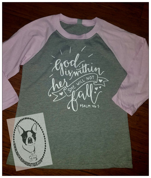 God is Within Her She Will Not Fall Custom Shirt for Kids, 3/4 Sleeve