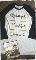 Grateful Thankful Blessed Arrow Custom Shirt, Soft 3/4 Sleeve