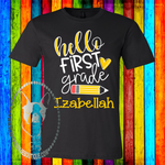 Hello...  Grade Pencil Personalized Custom Shirt for Kids, Short Sleeve