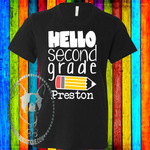 Hello...  Grade Pencil Personalized Boy Custom Shirt for Kids, Short Sleeve
