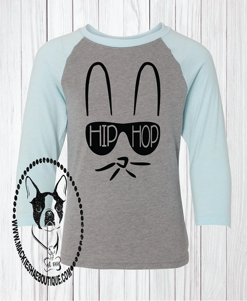 Hip Hop Bunny with Shades Custom Shirt for Kids, 3/4 Sleeve