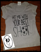 Hit Me with Your Best Shot Custom Shirt for Kids, Glitter Short Sleeve
